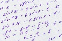 Fórmula da matemática Fotos de Stock Royalty Free