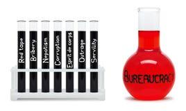 Fórmula de la burocracia. Concepto con los frascos negros y rojos. Imágenes de archivo libres de regalías