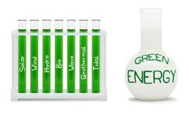 Fórmula de la energía verde. Concepto con los frascos. Fotos de archivo