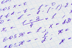 Fórmula de las matemáticas en el papel Imagen de archivo