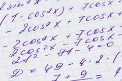 Fórmula de las matemáticas en el papel Foto de archivo libre de regalías