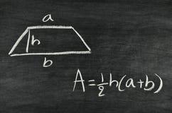 Fórmula del área del trapezoide Fotografía de archivo