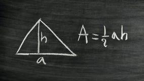 Fórmula del área del triángulo Foto de archivo
