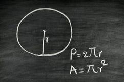 Fórmula del área y del perímetro del círculo imagen de archivo