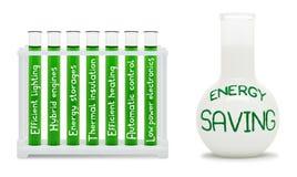 Fórmula del ahorro de la energía. Concepto con los frascos verdes y blancos. Imágenes de archivo libres de regalías