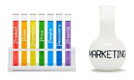 Fórmula del márketing. Concepto con los frascos coloreados. Trayectoria de recortes Imagen de archivo