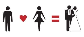 Fórmula do amor que wedding o sinal simbólico Fotografia de Stock Royalty Free