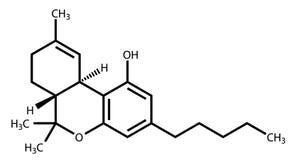 Fórmula estructural de Tetrahydrocannabinol stock de ilustración