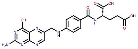 Fórmula estructural del ácido fólico Fotografía de archivo libre de regalías