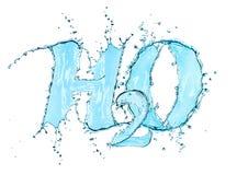 Fórmula H2O del agua del chapoteo Fotos de archivo libres de regalías