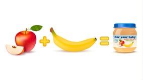 Fórmula Infographics do fruto do comida para bebê Foto de Stock