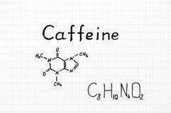 Fórmula química da cafeína imagem de stock