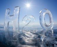 Fórmula química del agua H2O Imagenes de archivo