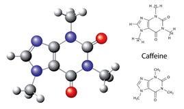 Fórmula química y modelo estructurales de la molécula del cafeína. Vector stock de ilustración