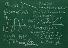 Fórmulas da matemática na educação do quadro-negro da escola ilustração do vetor