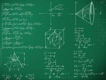 Fórmulas da matemática no quadro-negro da escola Fotografia de Stock