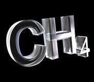 fórmulas da química 3d no vidro do metano ilustração do vetor