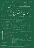 Fórmulas de la física que dibujan en consejo escolar Foto de archivo