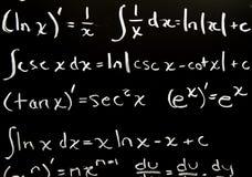 Fórmulas de la matemáticas Imágenes de archivo libres de regalías