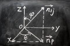 Fórmulas de la matemáticas escritas en la pizarra Fotos de archivo