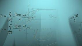 Fórmulas de la matemáticas que vuelan en rayos almacen de video