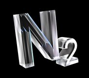 fórmulas de la química 3d en el vidrio de nitrógeno Fotos de archivo libres de regalías