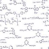Fórmulas de la química. Inconsútil. Foto de archivo libre de regalías