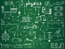 Fórmulas e fenômenos físicos na placa de escola Imagem de Stock Royalty Free