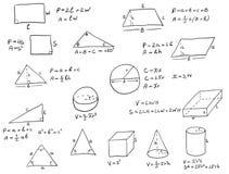 Fórmulas escritas mão da geometria Fotografia de Stock Royalty Free