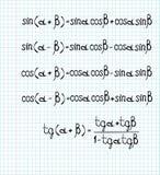 Fórmulas matemáticas Fotos de archivo