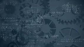 Fórmulas matemáticas com engrenagens ilustração stock