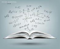 Fórmulas matemáticas e gráficos no livro aberto ilustração do vetor