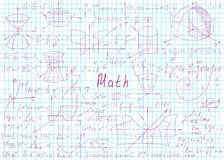 Fórmulas matemáticas tiradas à mão em uma página do caderno para o fundo Ilustra??o do vetor ilustração do vetor