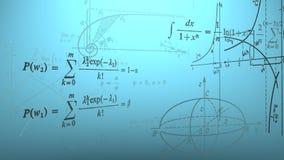 Fórmulas matemáticas y gráficos que vuelan Loopable stock de ilustración