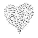 Fórmulas químicas dadas forma coração. ilustração do vetor