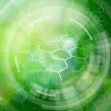 Fórmulas químicas, elementos radiales de HUD y bokeh verde stock de ilustración