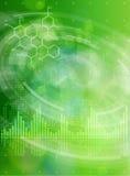 Fórmulas químicas, onda digital, elementos radiales de HUD ilustración del vector