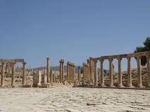 Fórum (plaza oval) em Jerash, Jordânia Foto de Stock Royalty Free