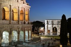 Fórum romano em Roma, Italy fotos de stock royalty free