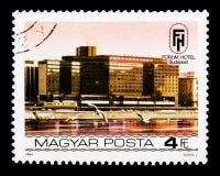 Fórum, serie dos hotéis do beira-rio de Budapest, cerca de 1984 Imagens de Stock Royalty Free