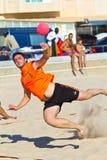 Fósforo da 19a liga do handball da praia, Cadiz Fotografia de Stock