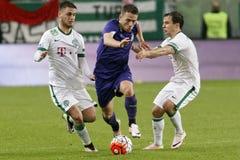 Fósforo de futebol da liga do banco de Ferencvaros - de Ujpest OTP Fotografia de Stock Royalty Free