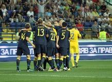 Fósforo de futebol das equipas nacionais de Ucrânia - de Sweden Fotografia de Stock