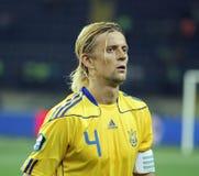 Fósforo de futebol das equipas nacionais de Ucrânia - de Sweden Foto de Stock Royalty Free