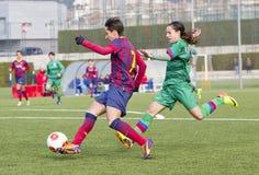 Fósforo de futebol das mulheres - FC Barcelona contra Levante Fotos de Stock