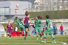 Fósforo de futebol das mulheres - FC Barcelona contra Levante Fotografia de Stock