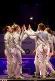 Fósforo do sabre das mulheres de campeonatos de cerco do mundo Fotografia de Stock