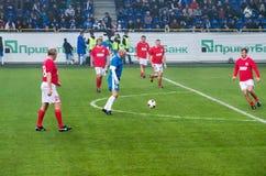 Fósforo dos veteranos da equipa nacional de FC Dnipro e de URSS Fotos de Stock