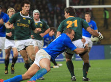 Fósforo Italy do rugby contra África do Sul - estádio de Friuli Imagens de Stock
