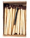 Fósforo queimado e um fósforo inteiro Fotos de Stock